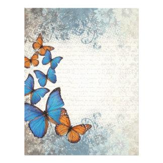 Blue floral butterflies letterhead