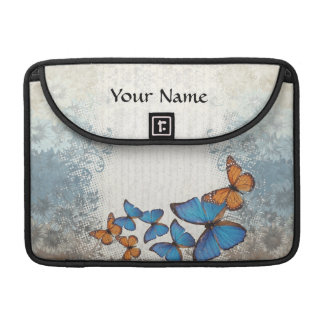 Blue floral butterflies MacBook pro sleeve