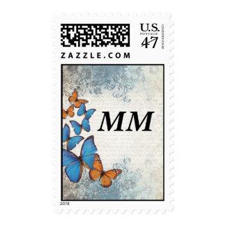 Blue floral butterflies postage