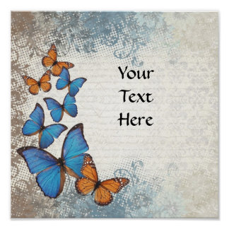 Blue floral butterflies posters