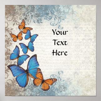 Blue floral butterflies poster