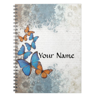 Blue floral butterflies spiral note book