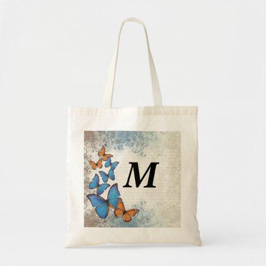 Blue floral butterflies tote bag