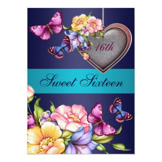 Blue Floral Butterfly Sweet16 Birthday Invite