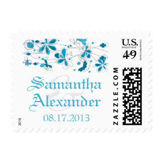 Blue Floral Butterfly Wedding Postage Stamps
