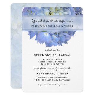Blue Floral Ceremony Rehearsal Dinner Invitation