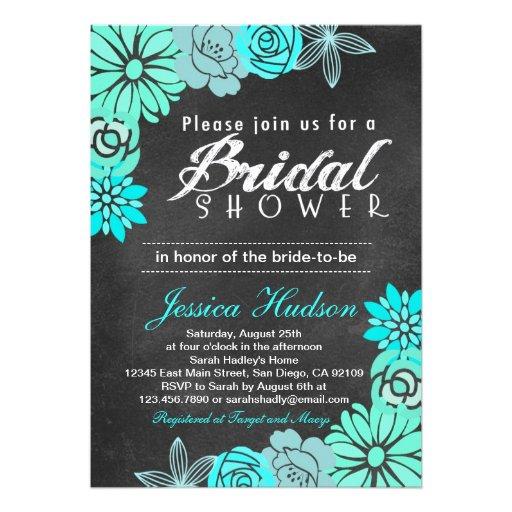 Blue floral chalkboard bridal shower invitation