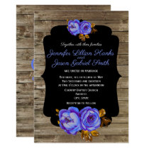 Blue floral, chalkboard rustic brown wood wedding invitation