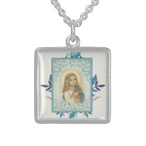 Blue Floral |Child | Virgin Mary | Religious Sterling Silver Necklace