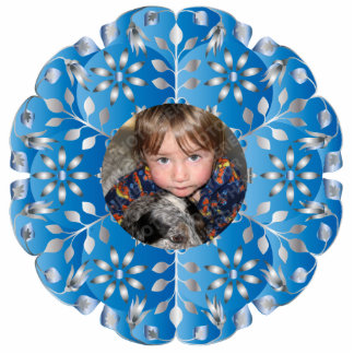 Blue Floral Christmas Photo Ornament Frame