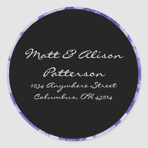 blue floral circle address labels stickers classic round With circle address labels sticker