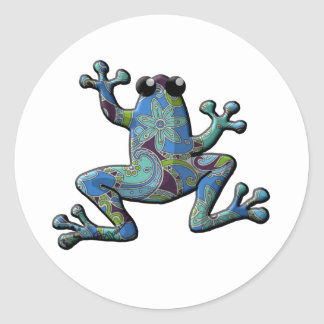 Blue Floral Climbing Frog Classic Round Sticker