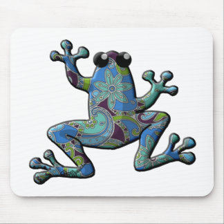 Blue Floral Climbing Frog Mouse Pad