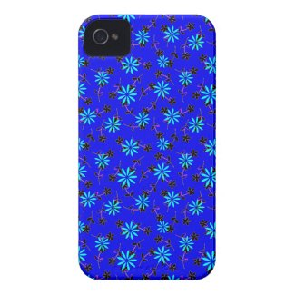 Blue Floral Cobalt Blue Designer iPhone 4/4s Case