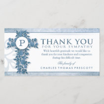 Blue Floral Cross Monogram Thank You Sympathy
