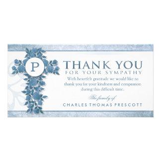 Blue Floral Cross Monogram Thank You Sympathy Card