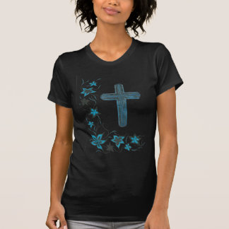 Blue-floral-cross T-Shirt
