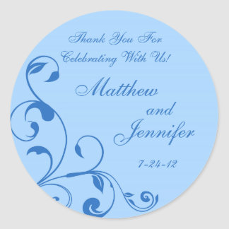 Blue Floral Curls Wedding Favor Labels / Gift Tags
