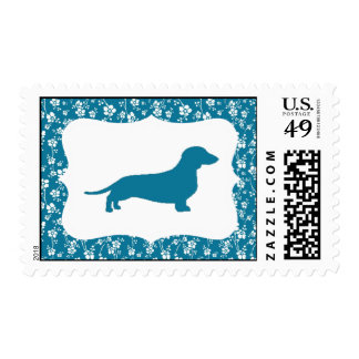 Blue Floral Dachshund Stamps