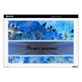 Blue Floral Daisy Pattern Laptop Skins