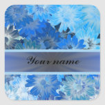 Blue Floral Daisy Pattern Square Sticker