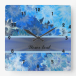 Blue Floral Daisy Pattern Square Wall Clock