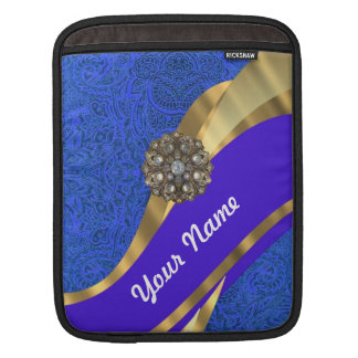 Blue floral damask & gold ribbon iPad sleeve