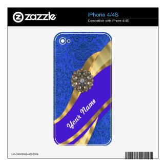Blue floral damask & gold ribbon iPhone 4 skin