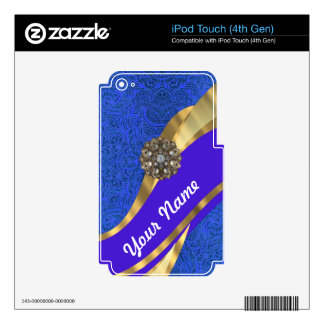Blue floral damask & gold ribbon iPod touch 4G decal