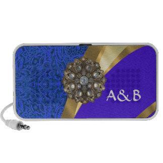 Blue floral damask & gold ribbon portable speaker