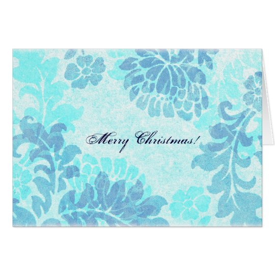 Blue floral damask Merry Christmas Card