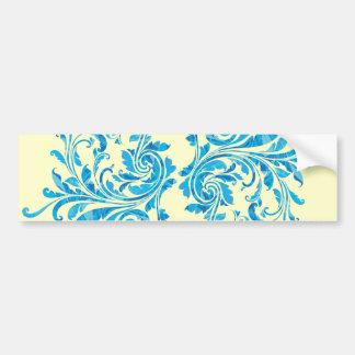 Blue Floral Damask Pattern Car Bumper Sticker