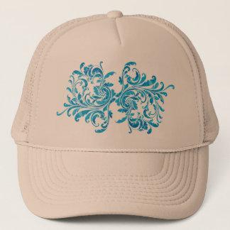 Blue Floral Damask Pattern Trucker Hat