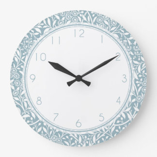 Blue Floral Damask Pattern Wall Clock