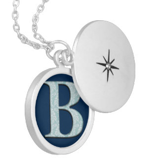 Blue Floral Damask Print B monogram initials Locket Necklace