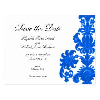 Blue Floral Damask Save the Date Postcard