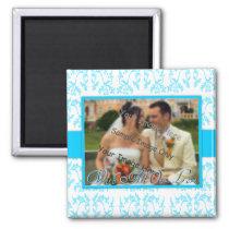 Blue Floral Damask Wedding Thank You Gift Magnet