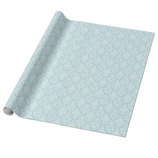 Blue Floral Damask Gift Wrapping Paper