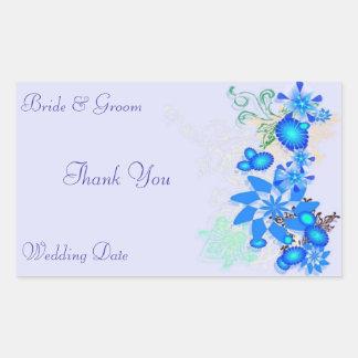Blue Floral Deco WeddingThank You Rectangular Sticker