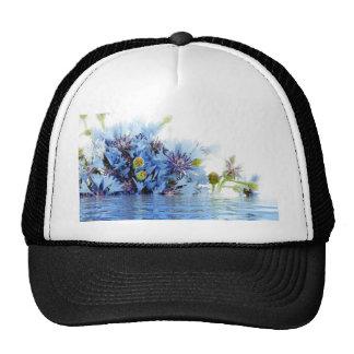 Blue floral decor arrangement clear water peaceful trucker hat