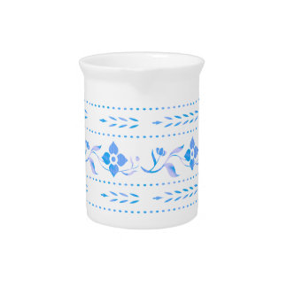 Blue Floral Decorative Porcelain Jug Pitchers