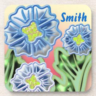 Blue floral design beverage coaster