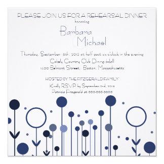 Blue Floral Dot Rehearsal Dinner Invitation