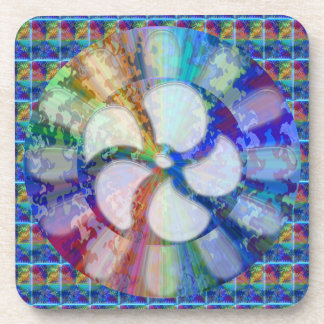 Blue Floral DREAM : Editable Text replace Greeting Drink Coaster