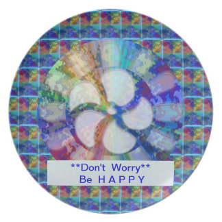 Blue Floral DREAM : Editable Text replace Greeting Melamine Plate