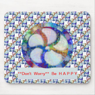 Blue Floral DREAM : Editable Text replace Greeting Mouse Pad