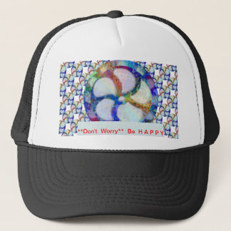 Blue Floral DREAM : Editable Text replace Greeting Trucker Hat