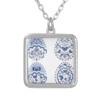 Blue Floral Easter Eggs2 Silver Plated Necklace