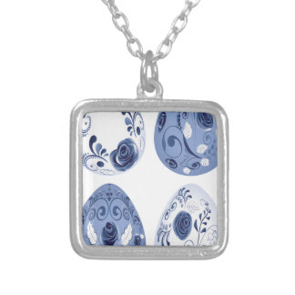 Blue Floral Easter Eggs Silver Plated Necklace