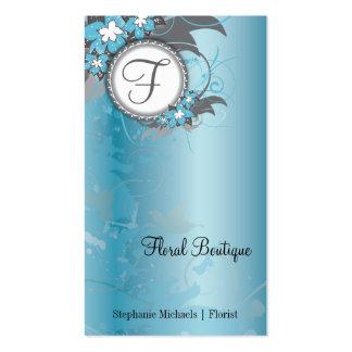 Blue Floral Elegant Business Card Monogram